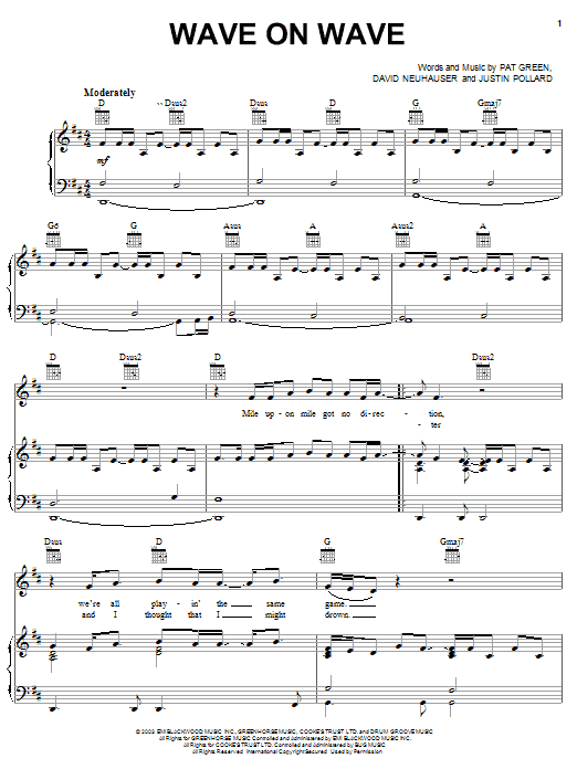 Pat Green Wave On Wave sheet music notes and chords