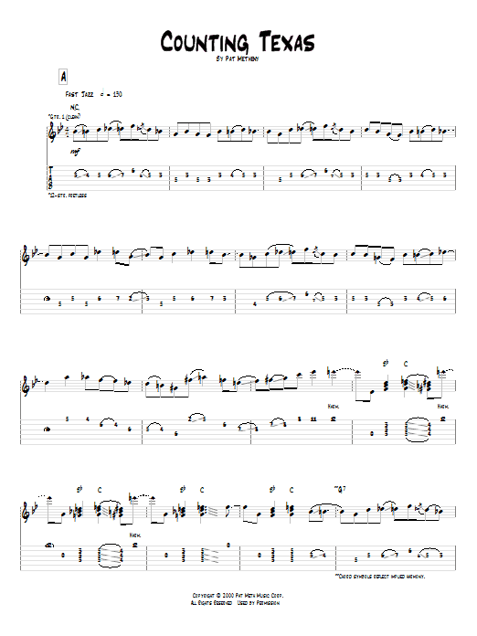 Pat Metheny Counting Texas sheet music preview music notes and score for Guitar Tab including 14 page(s)