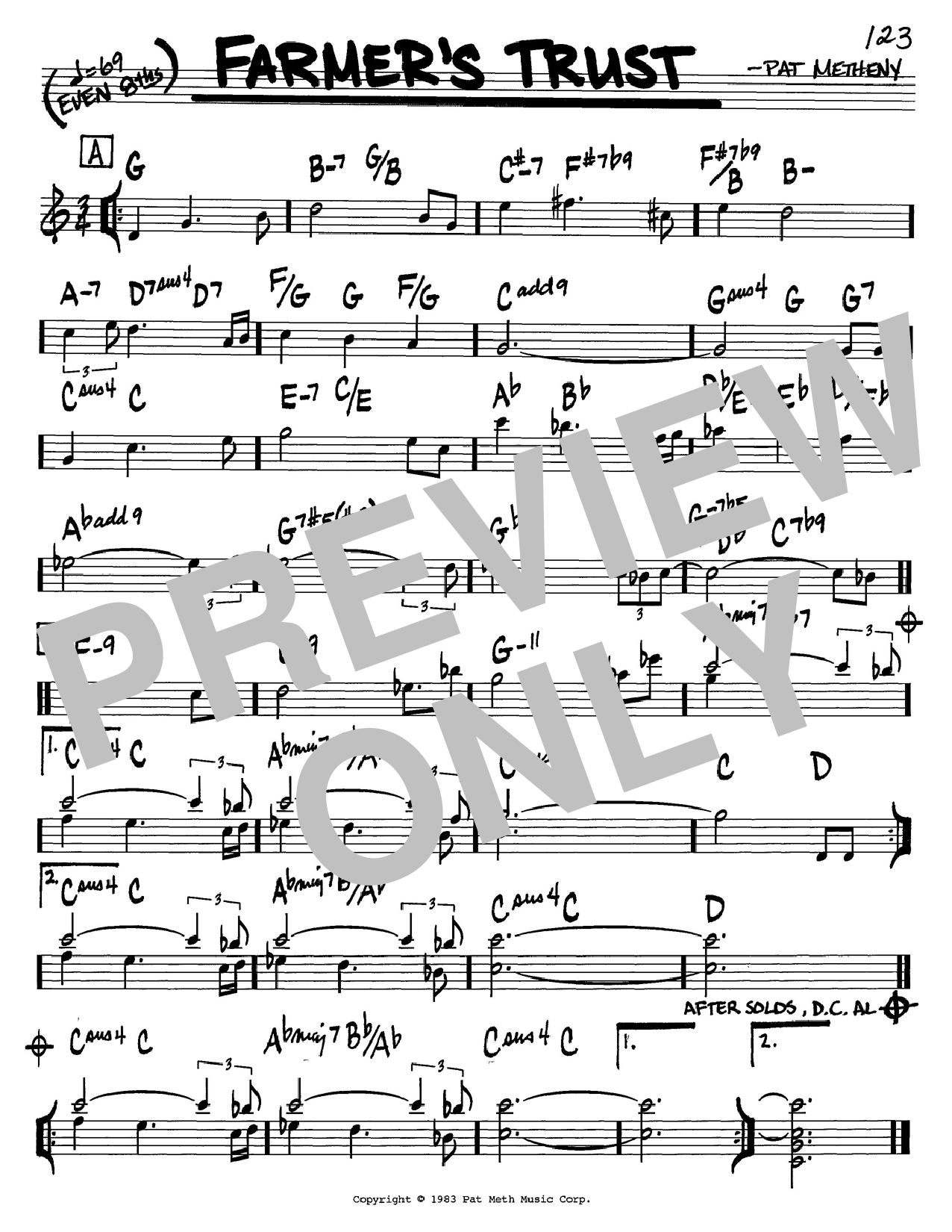 Pat Metheny Farmer's Trust sheet music preview music notes and score for Real Book - Melody & Chords - C Instruments including 1 page(s)