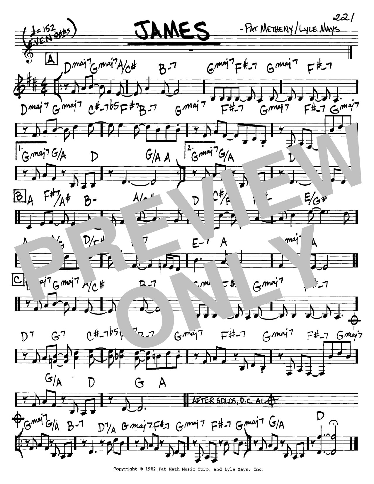 Pat Metheny James sheet music preview music notes and score for Guitar Tab including 13 page(s)