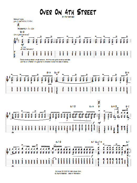 Pat Metheny Over On 4th Street sheet music preview music notes and score for Guitar Tab including 8 page(s)
