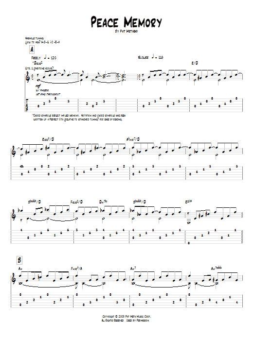 Pat Metheny Peace Memory sheet music preview music notes and score for Guitar Tab including 8 page(s)