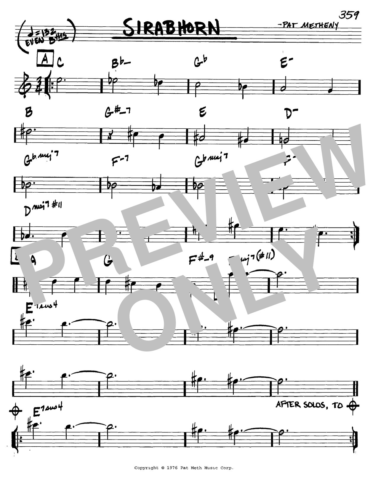 Pat Metheny Sirabhorn sheet music preview music notes and score for Real Book - Melody & Chords - Eb Instruments including 1 page(s)