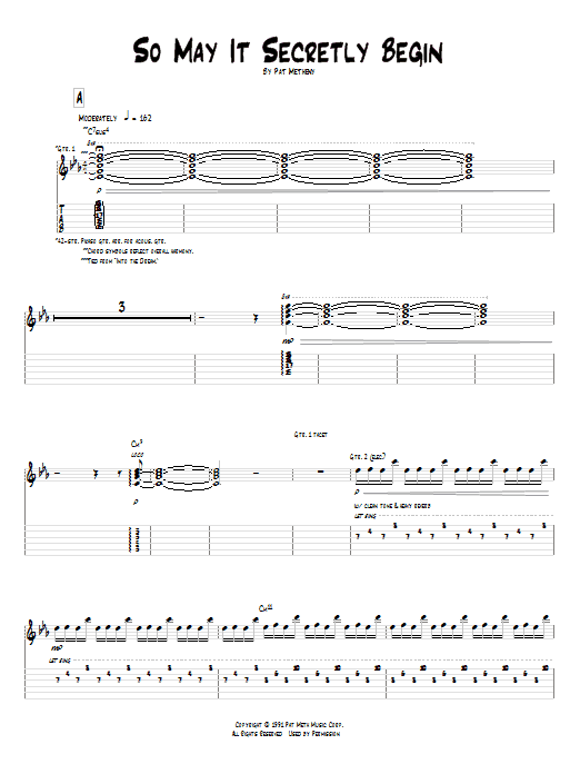 Pat Metheny So May It Secretly Begin sheet music preview music notes and score for Guitar Tab including 14 page(s)