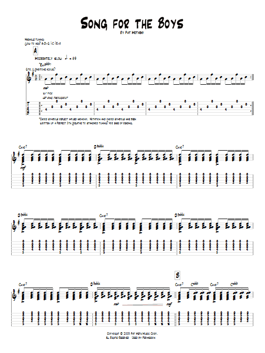Pat Metheny Song For The Boys sheet music preview music notes and score for Guitar Tab including 10 page(s)
