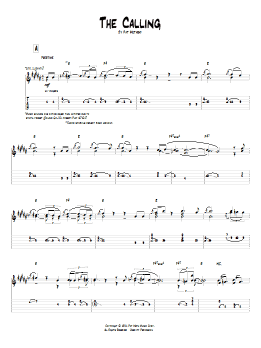 Pat Metheny The Calling sheet music preview music notes and score for Guitar Tab including 10 page(s)