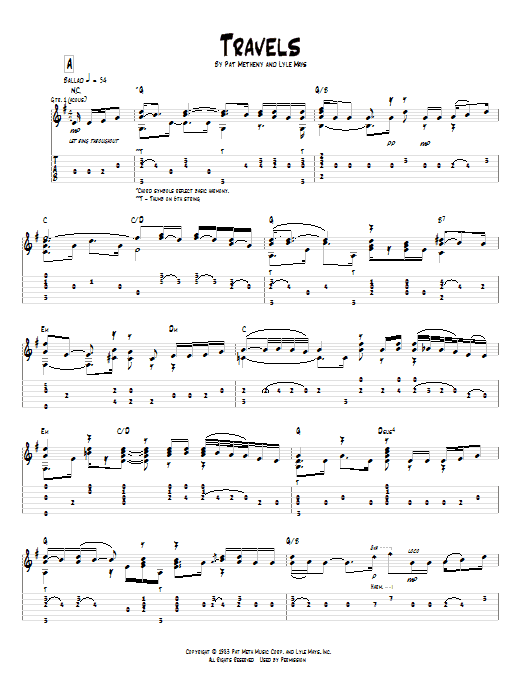 Pat Metheny Travels sheet music preview music notes and score for Guitar Tab including 7 page(s)