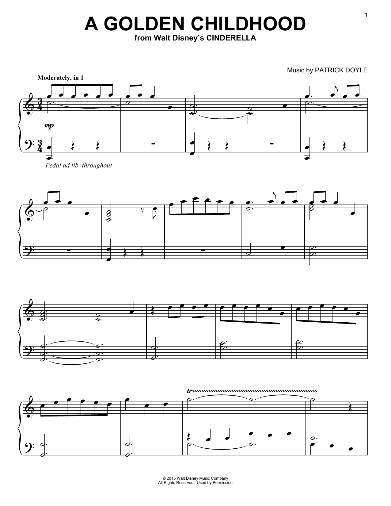 Download Patrick Doyle 'A Golden Childhood (from Walt Disney's Cinderella)' Digital Sheet Music Notes & Chords and start playing in minutes