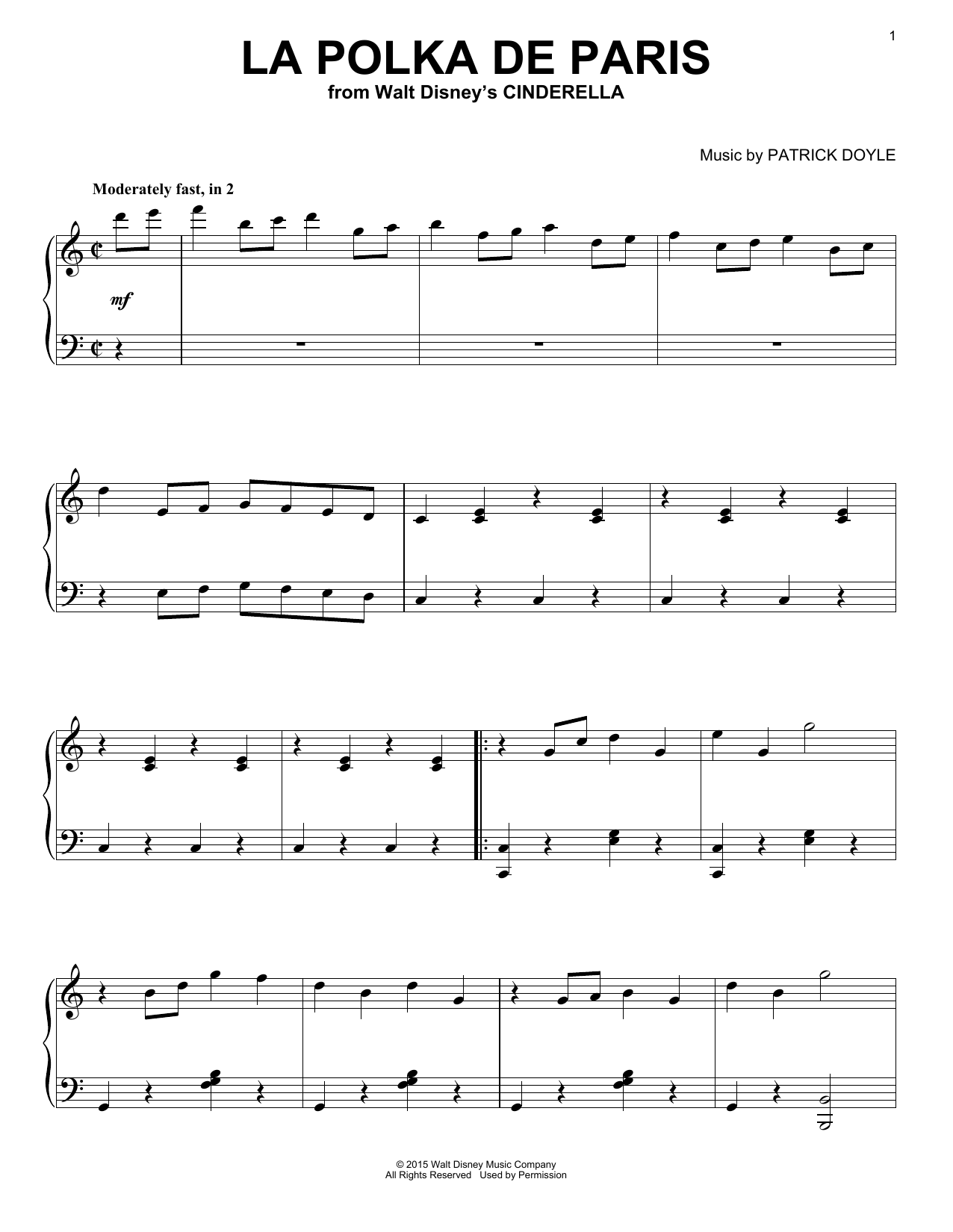 Download Patrick Doyle 'La Polka De Paris (from Walt Disney's Cinderella)' Digital Sheet Music Notes & Chords and start playing in minutes
