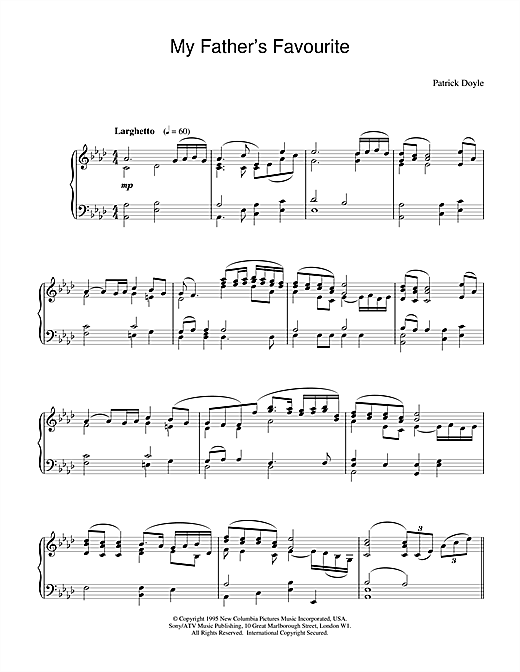 Patrick Doyle My Father's Favourite (from Sense And Sensibility) sheet music notes and chords