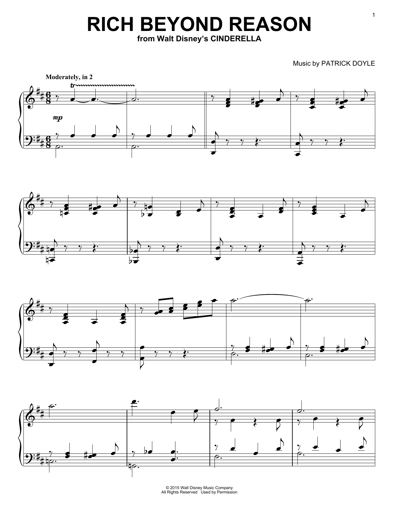 Patrick Doyle Rich Beyond Reason (from Walt Disney's Cinderella) sheet music notes and chords