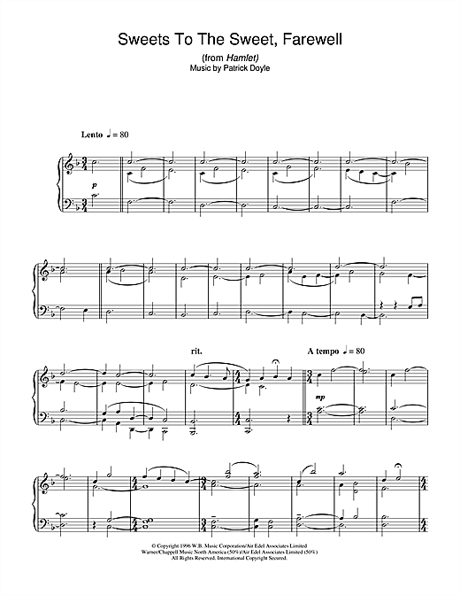Download Patrick Doyle 'Sweets To The Sweet, Farewell (from Hamlet)' Digital Sheet Music Notes & Chords and start playing in minutes