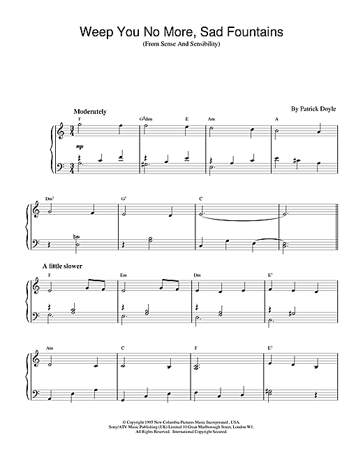 Patrick Doyle Weep You No More, Sad Fountains (from Sense And Sensibility) sheet music notes and chords