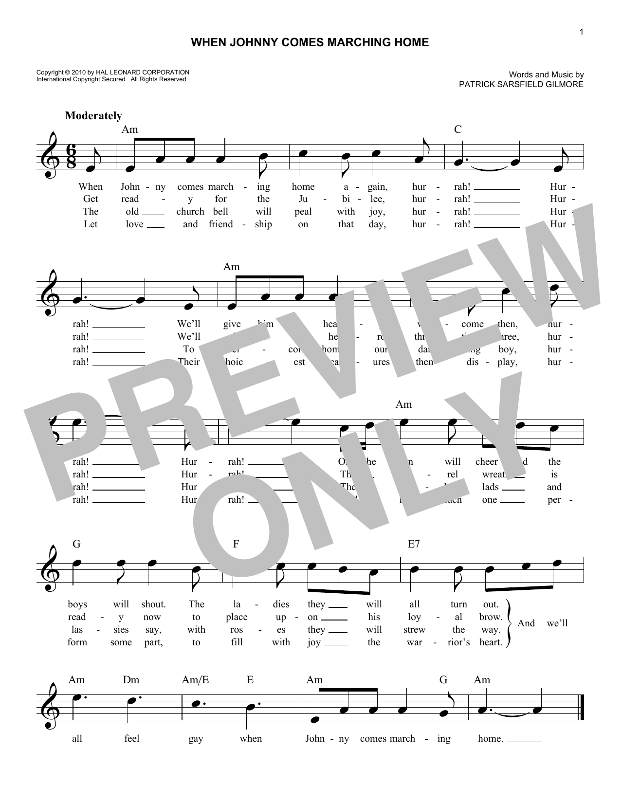 Patrick Sarsfield Gilmore When Johnny Comes Marching Home sheet music notes and chords