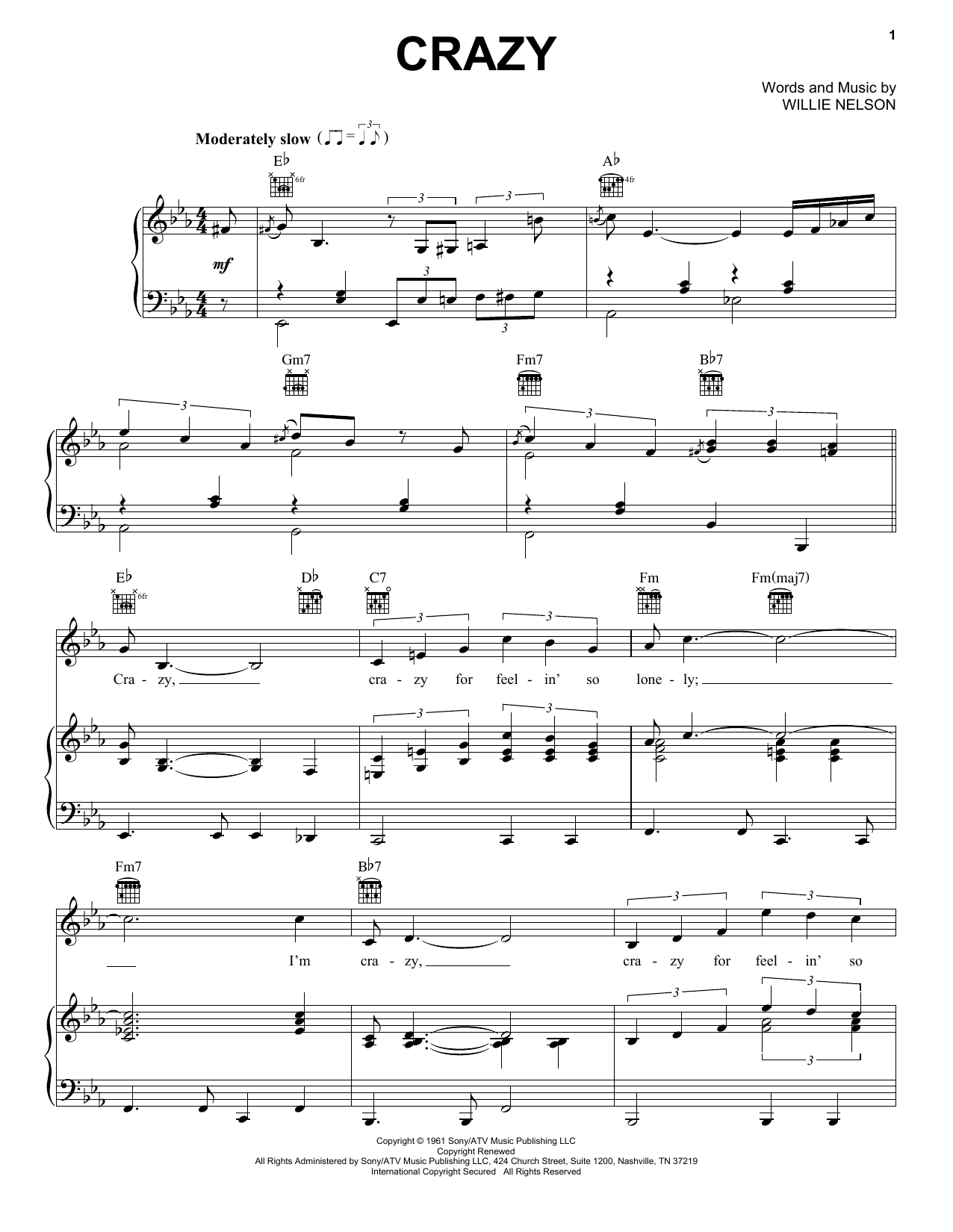 Patsy Cline Crazy sheet music notes and chords