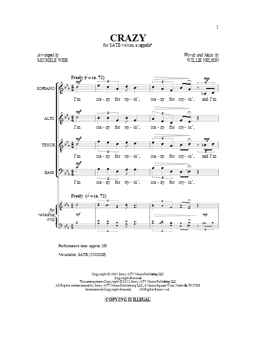 Michelle Weir Crazy sheet music preview music notes and score for SATB including 10 page(s)
