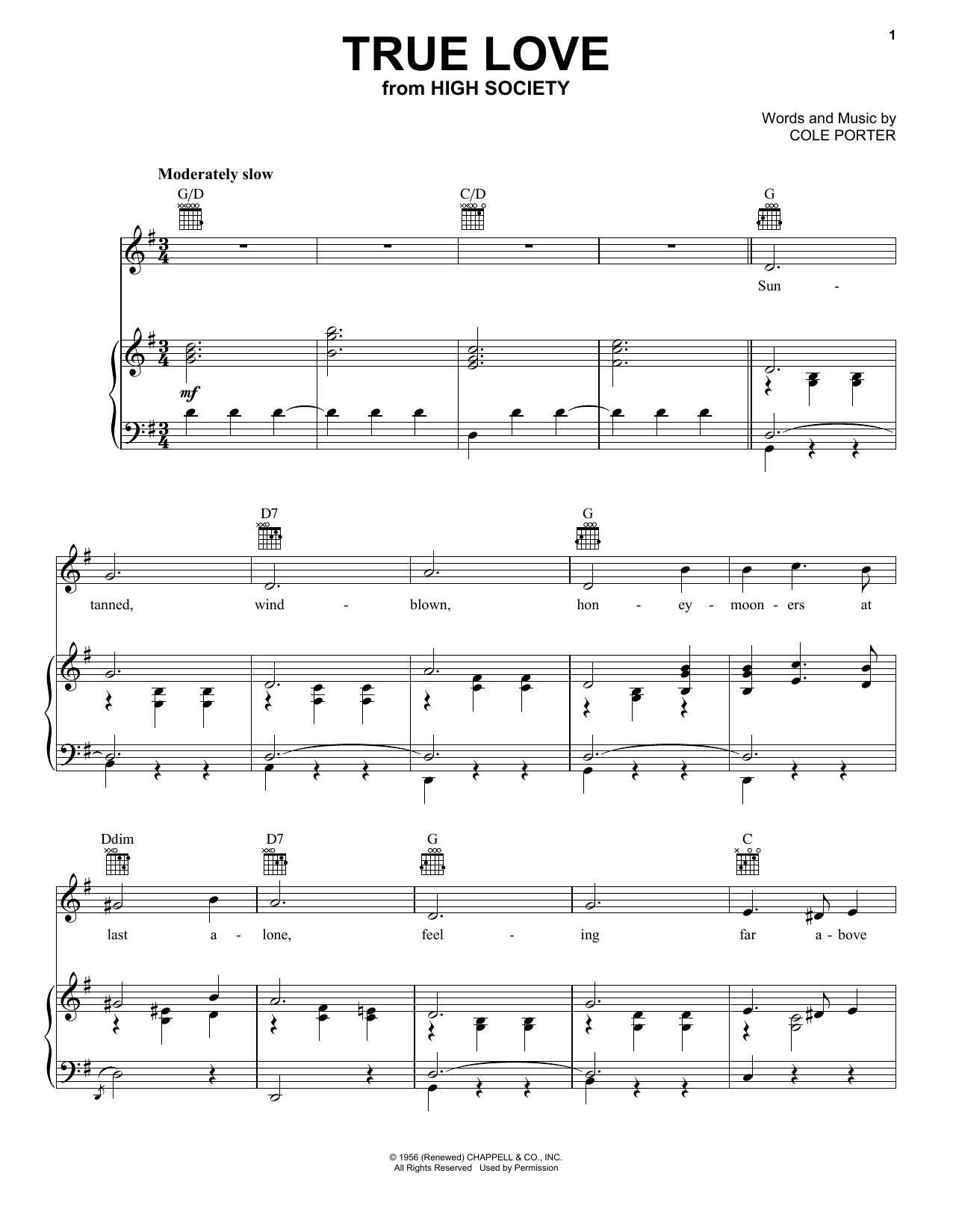 Patsy Cline True Love sheet music notes and chords