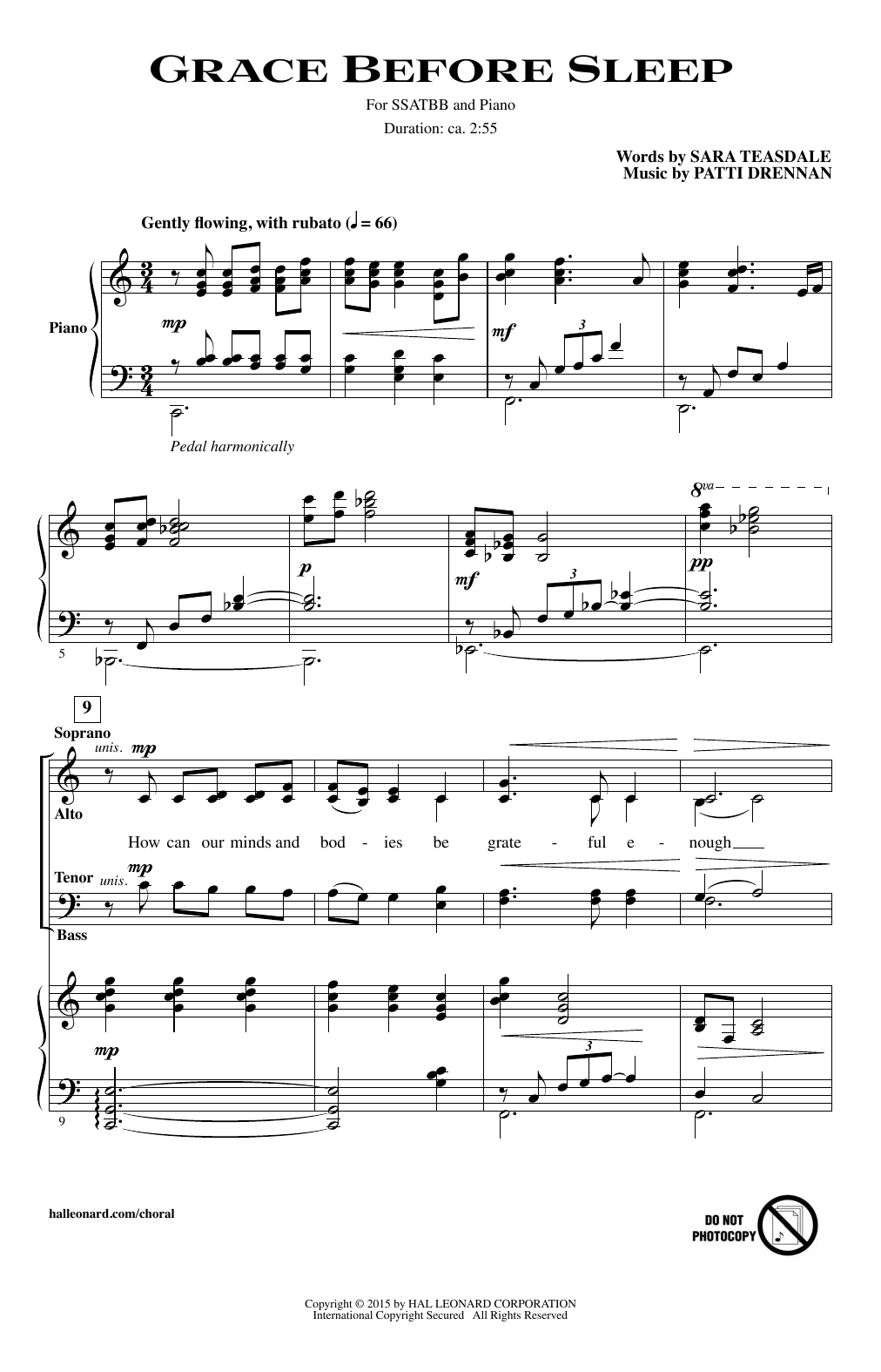 Download Patti Drennan 'Grace Before Sleep' Digital Sheet Music Notes & Chords and start playing in minutes