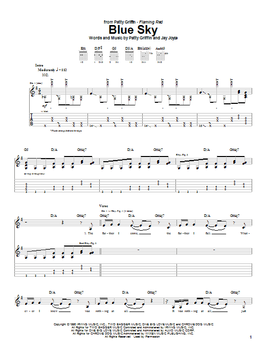 Patty Griffin Blue Sky sheet music notes and chords
