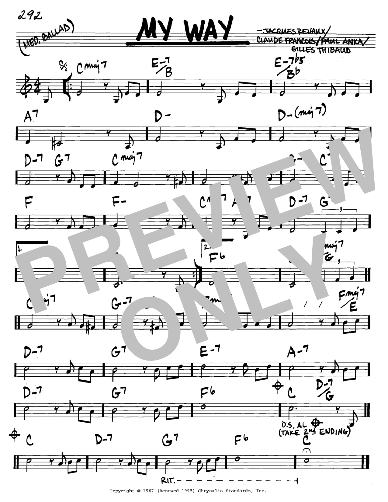 Paul Anka My Way sheet music preview music notes and score for Piano, Vocal & Guitar (Right-Hand Melody) including 5 page(s)
