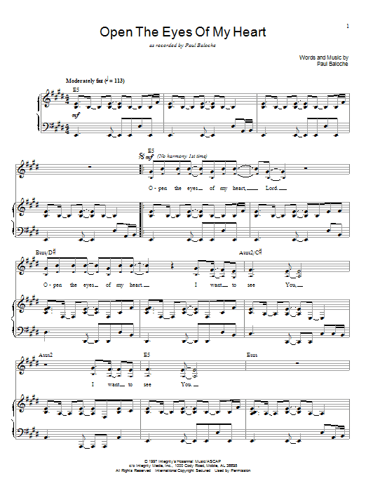 Paul Baloche Open The Eyes Of My Heart sheet music notes and chords