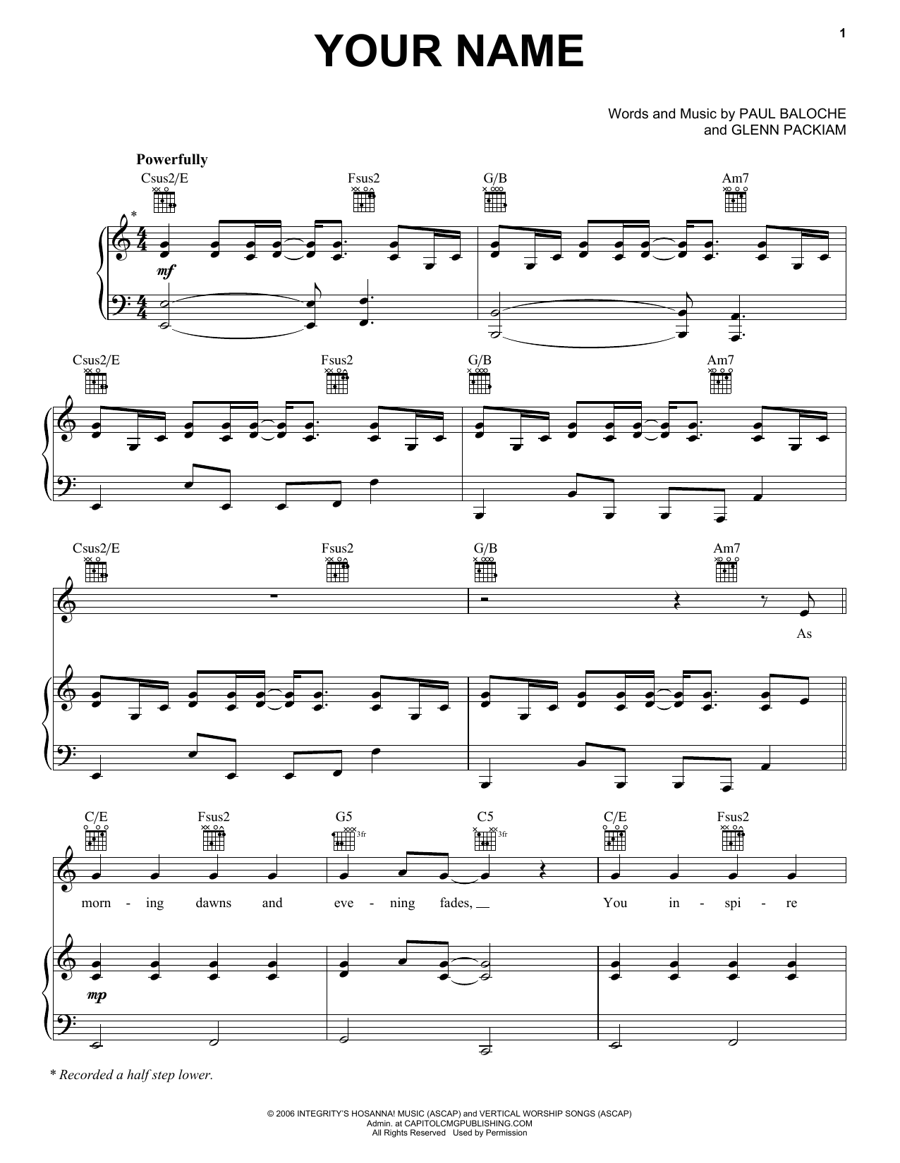 Download Paul Baloche 'Your Name' Digital Sheet Music Notes & Chords and start playing in minutes