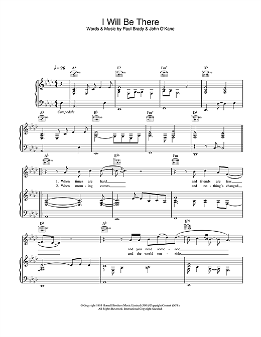 Paul Brady I Will Be There sheet music notes and chords