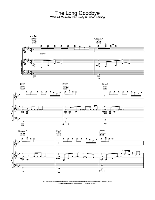 Paul Brady The Long Goodbye sheet music notes and chords