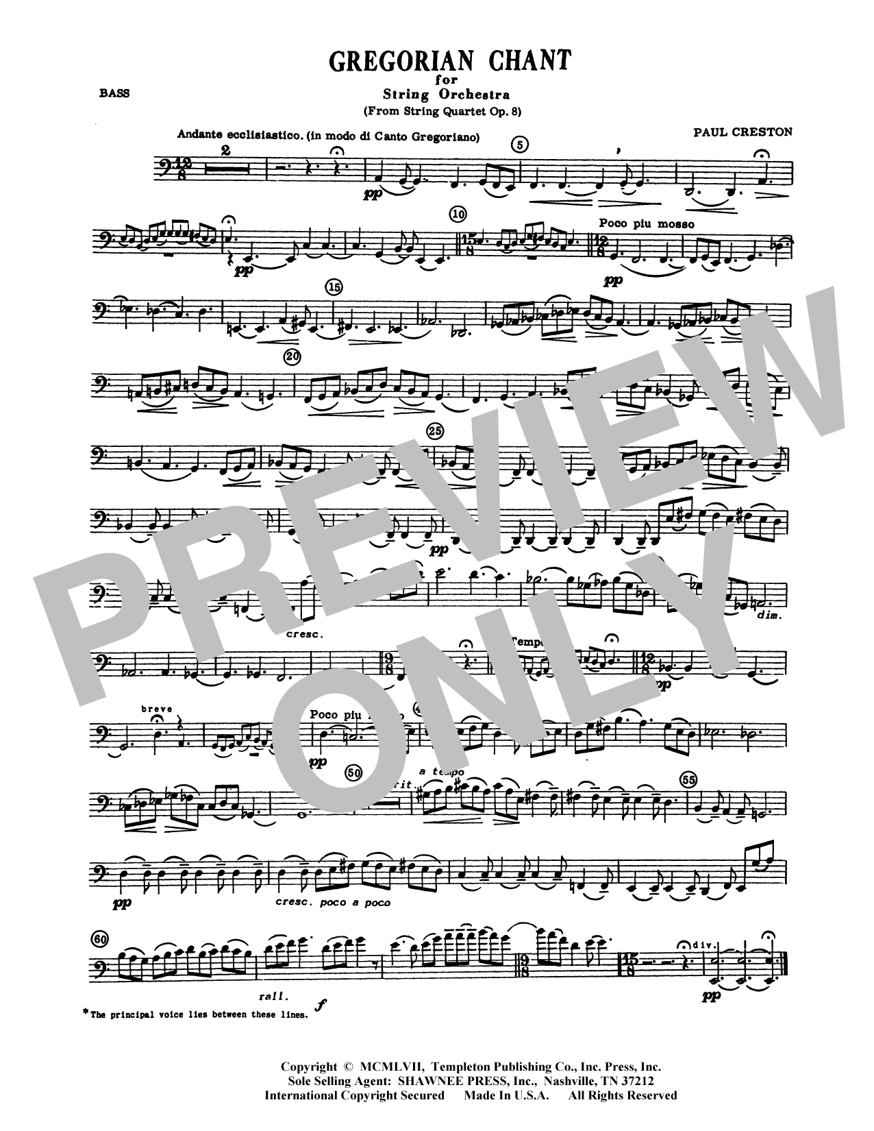Paul Creston Gregorian Chant for String Orchestra - Bass sheet music preview music notes and score for Orchestra including 1 page(s)