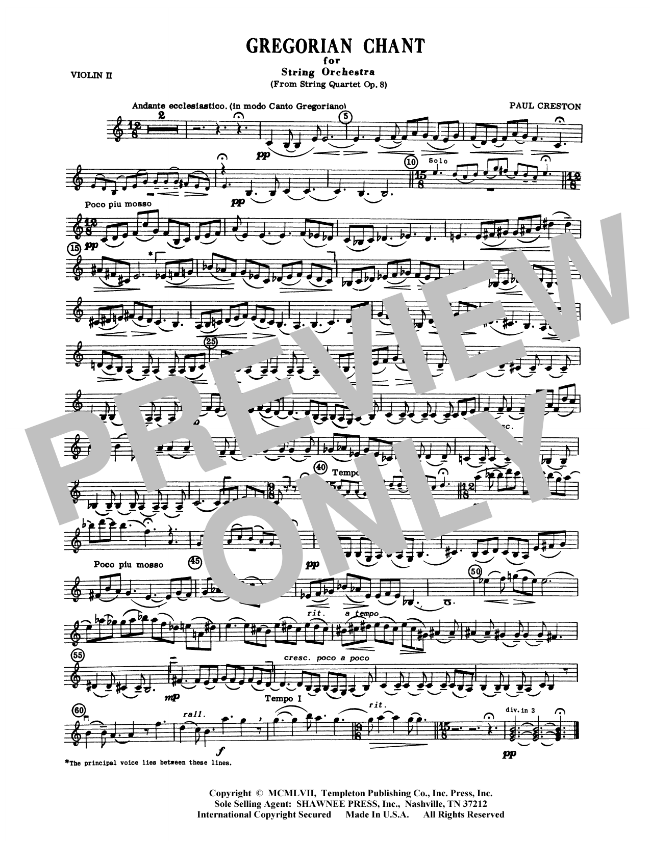 Paul Creston Gregorian Chant for String Orchestra - Viola sheet music preview music notes and score for Orchestra including 1 page(s)