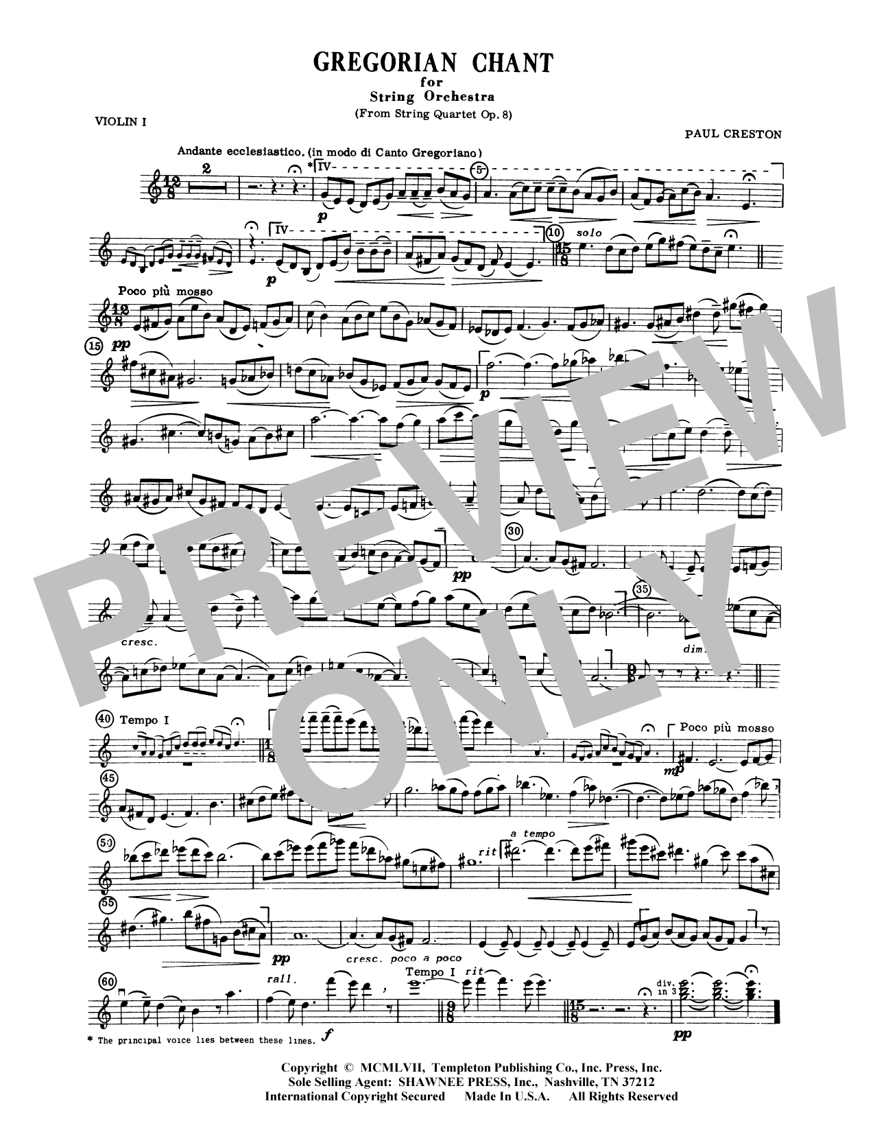 Paul Creston Gregorian Chant for String Orchestra - Violin 2 sheet music preview music notes and score for Orchestra including 1 page(s)