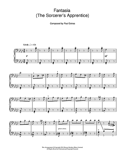 Download Paul Dukas 'Fantasia (The Sorcerer's Apprentice)' Digital Sheet Music Notes & Chords and start playing in minutes