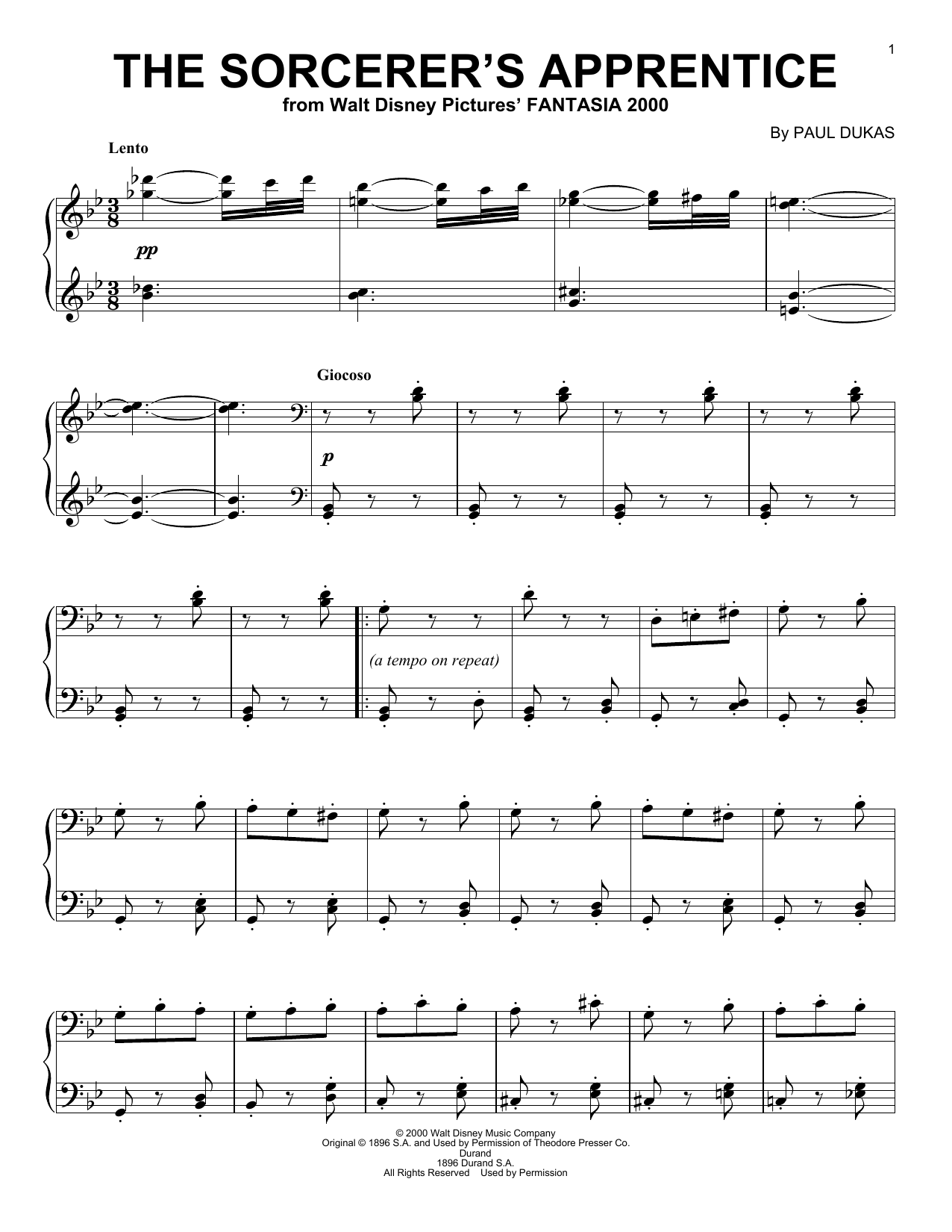 Paul Dukas The Sorcerer's Apprentice sheet music preview music notes and score for Easy Piano including 2 page(s)