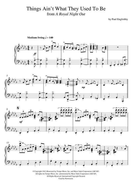 Download Paul Englishby 'Things Ain't What They Used To Be' Digital Sheet Music Notes & Chords and start playing in minutes