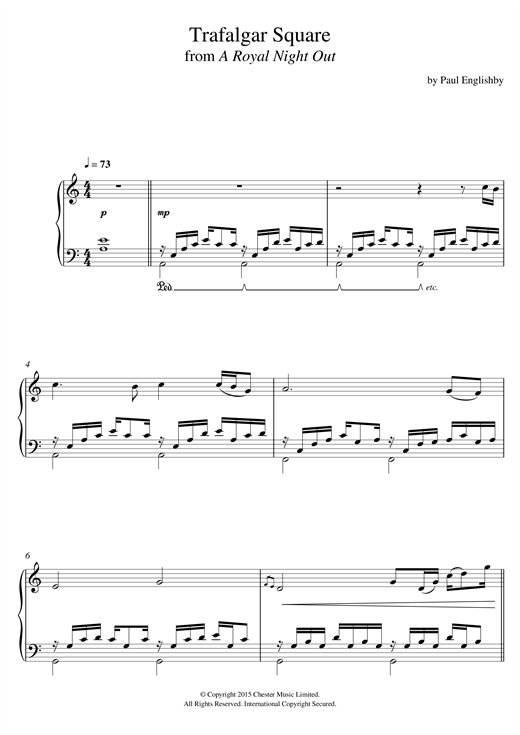 Download Paul Englishby 'Trafalgar Square (From 'A Royal Night Out')' Digital Sheet Music Notes & Chords and start playing in minutes