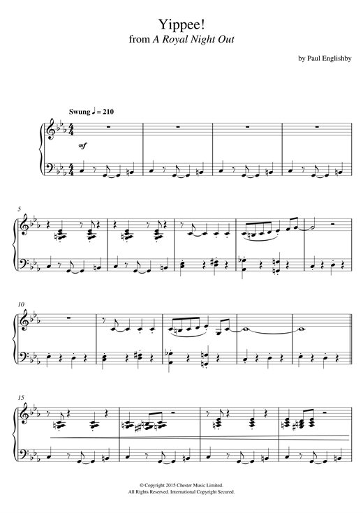 Download Paul Englishby 'Yippee! (From 'A Royal Night Out')' Digital Sheet Music Notes & Chords and start playing in minutes