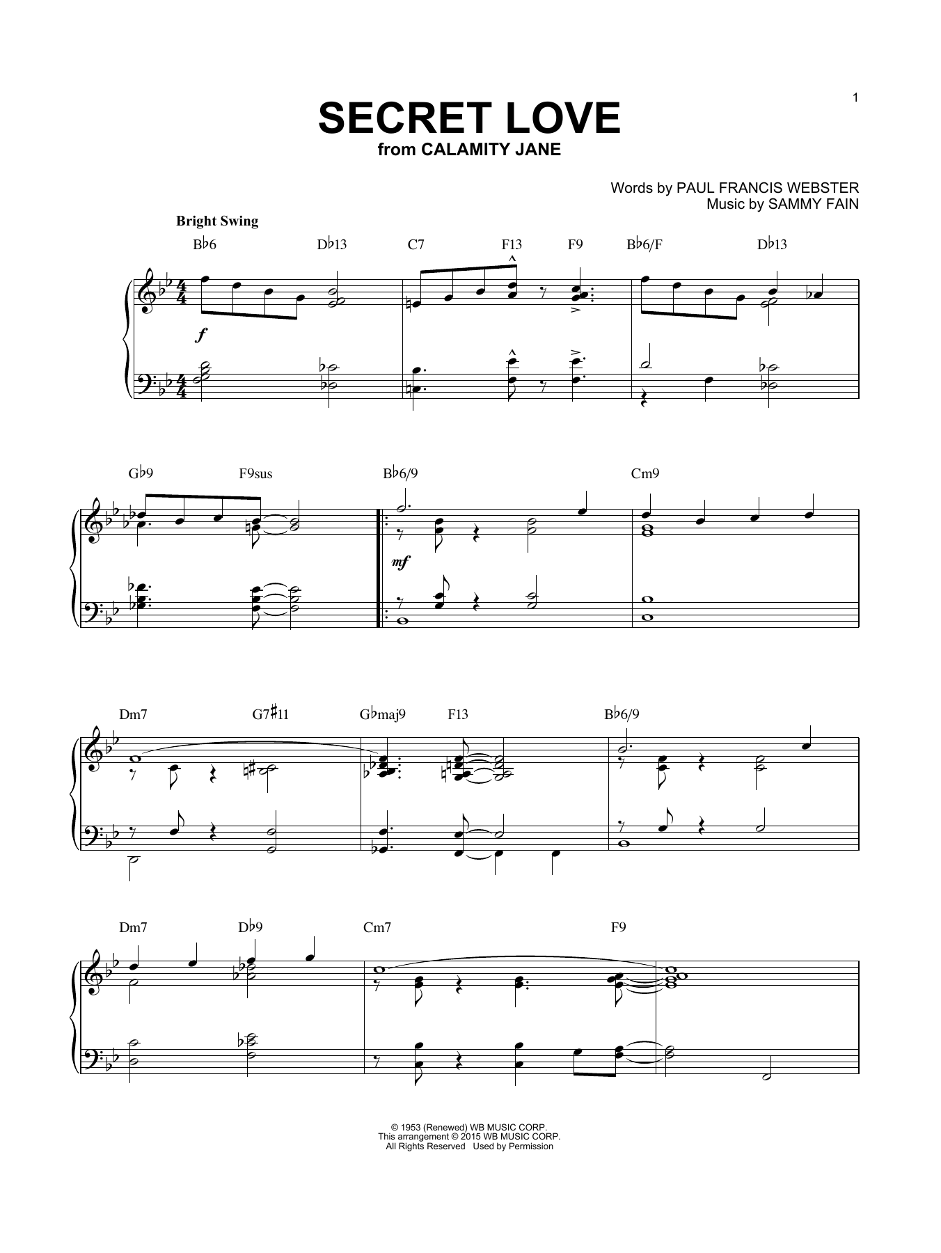 Download Paul Francis Webster 'Secret Love' Digital Sheet Music Notes & Chords and start playing in minutes