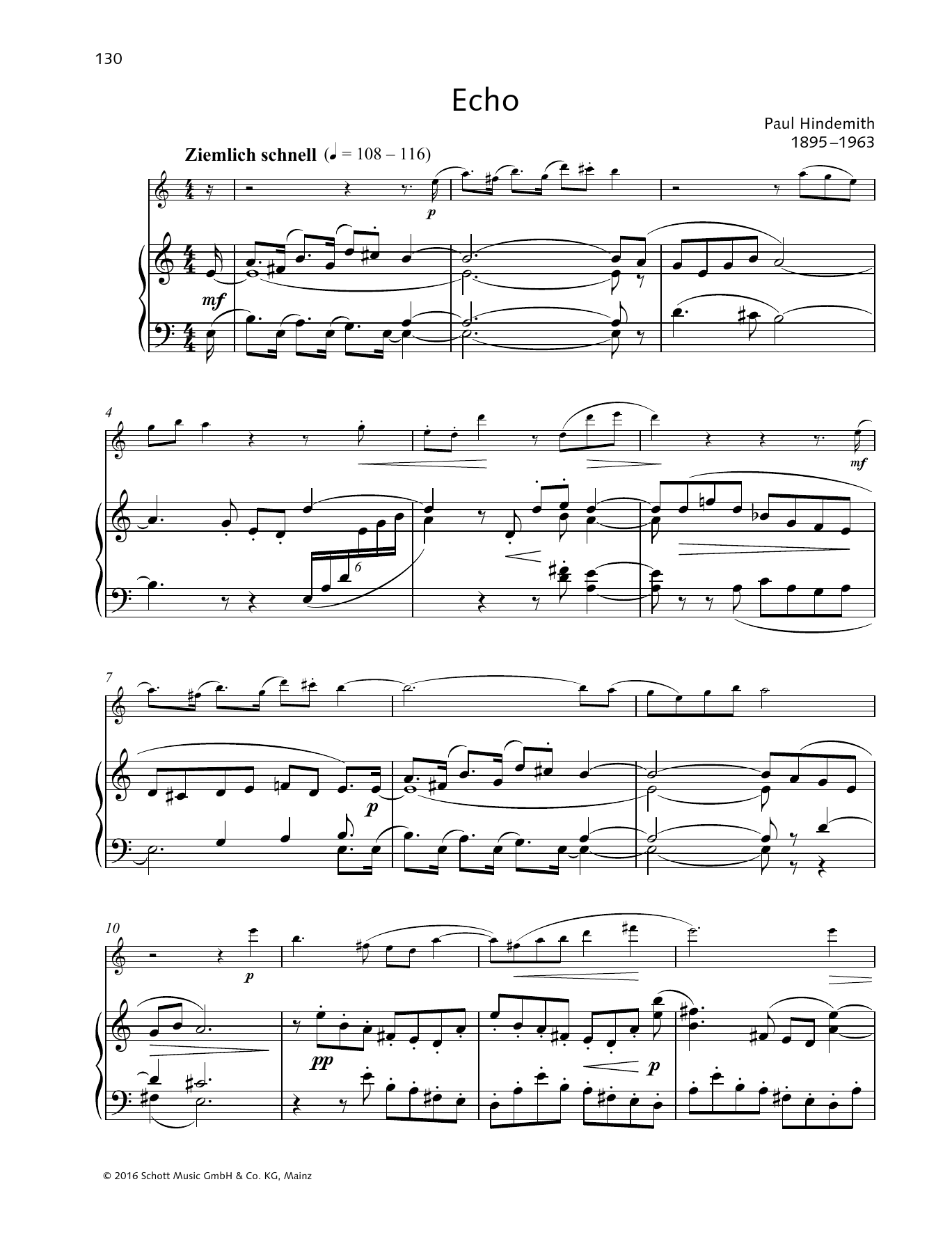 Paul Hindemith Echo sheet music preview music notes and score for Woodwind Solo including 3 page(s)