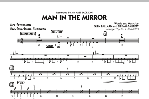 Paul Jennings Man In The Mirror - Aux Percussion sheet music preview music notes and score for Jazz Ensemble including 1 page(s)
