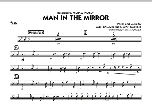 Paul Jennings Man In The Mirror - Bass sheet music preview music notes and score for Jazz Ensemble including 1 page(s)