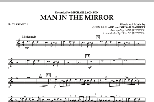Paul Jennings Man In The Mirror - Bb Clarinet 1 sheet music preview music notes and score for Jazz Ensemble including 1 page(s)