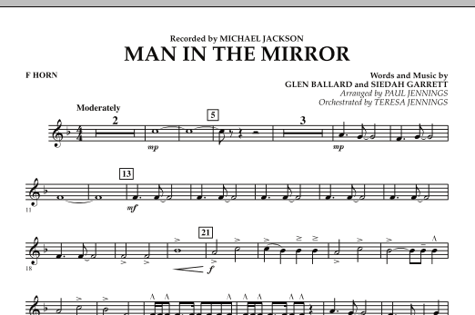 Paul Jennings Man In The Mirror - F Horn sheet music preview music notes and score for Jazz Ensemble including 1 page(s)