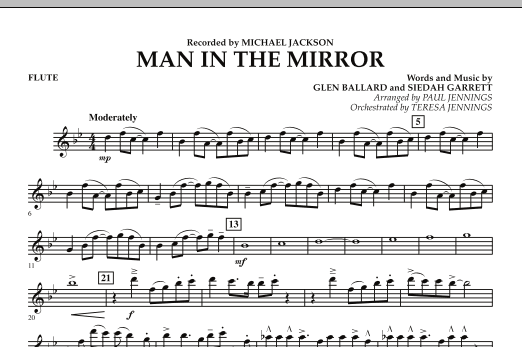 Paul Jennings Man In The Mirror - Flute sheet music preview music notes and score for Jazz Ensemble including 1 page(s)