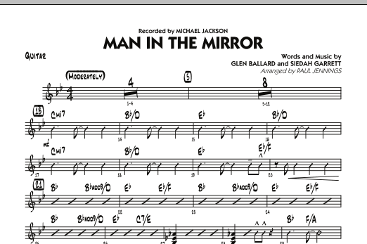 Paul Jennings Man In The Mirror - Guitar sheet music preview music notes and score for Jazz Ensemble including 1 page(s)