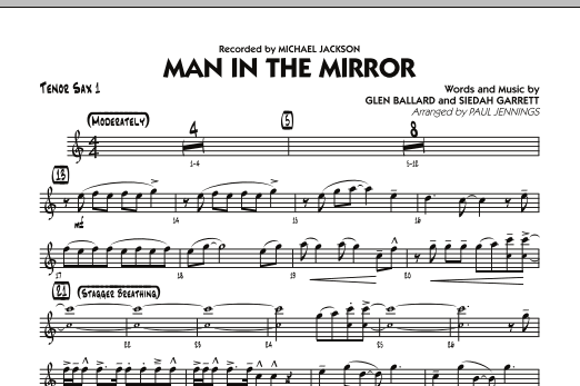 Paul Jennings Man In The Mirror - Tenor Sax 1 sheet music preview music notes and score for Jazz Ensemble including 1 page(s)