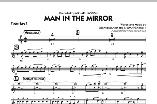 Paul Jennings Man In The Mirror - Tenor Sax 2 sheet music preview music notes and score for Jazz Ensemble including 1 page(s)