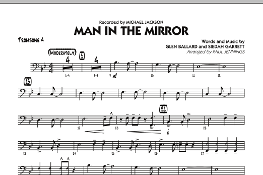 Paul Jennings Man In The Mirror - Trombone 4 sheet music preview music notes and score for Jazz Ensemble including 1 page(s)
