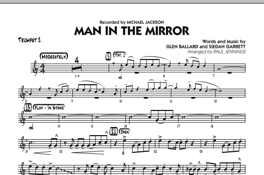 Paul Jennings Man In The Mirror - Trumpet 2 sheet music preview music notes and score for Jazz Ensemble including 1 page(s)