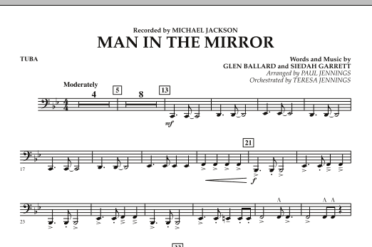 Paul Jennings Man In The Mirror - Tuba sheet music preview music notes and score for Jazz Ensemble including 1 page(s)