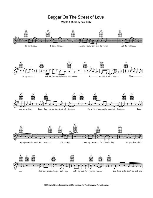 Paul Kelly Beggar On The Street Of Love sheet music preview music notes and score for Melody Line, Lyrics & Chords including 2 page(s)
